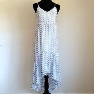 NWT Miami White & Blue Embroidered Maxi Dress